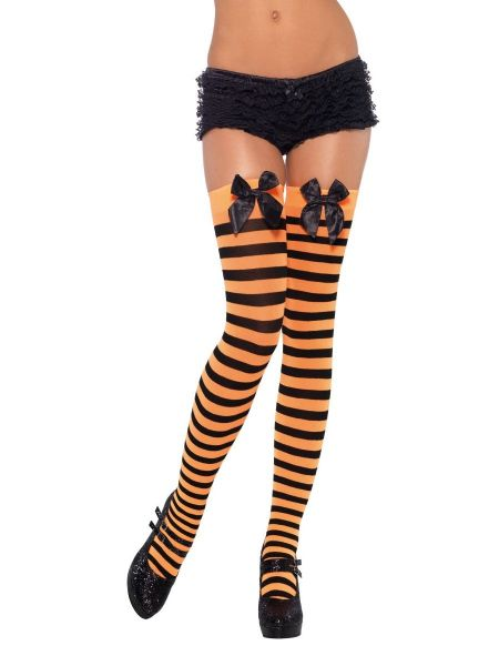 Thigh Highs with Bow - Orange & Black